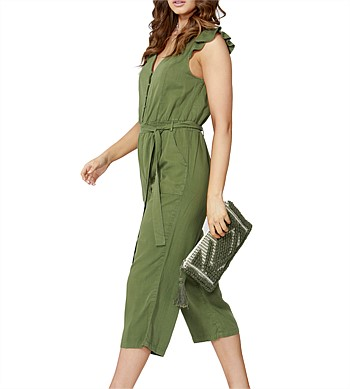 Sass Track Side Ruffle Jumpsuit
