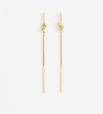 Stella + Gemma Long Tie The Knot Gold Earrings