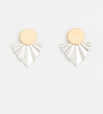 Stella + Gemma Pleat Gold Earrings