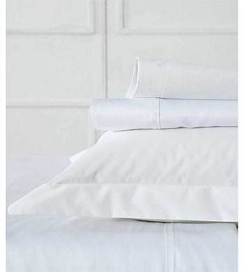 MM Linen Sheet Set 300TC Percale White Single