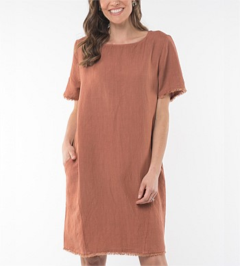 Elm Clay Dust Frayed Dress
