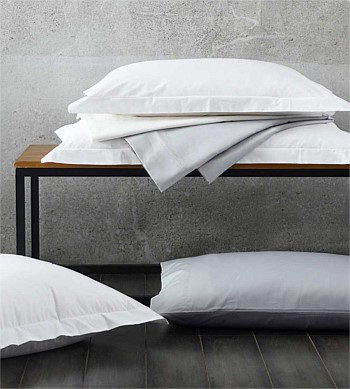 MM Linen Sheet Set 300TC Percale Grey Super King