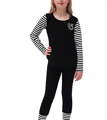 Punk Babay Long Sleeve Tee with Girl PWR Embroidery