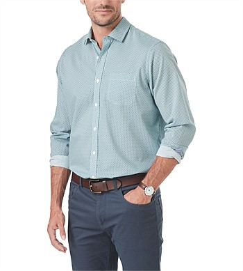 Gazman Smart Square Geo Print Shirt