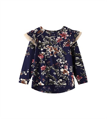 Cracked Soda Willow Floral Frill Top - Kids (3-8)