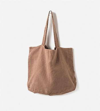 Citta Washed Linen Bag Tobacco