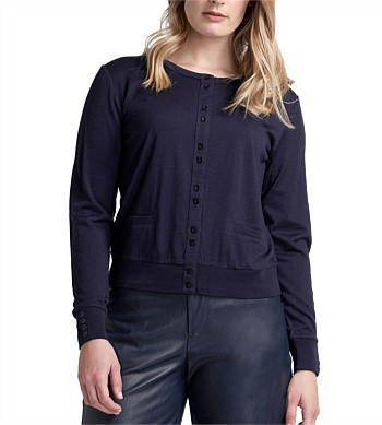 Foil Cardigan Front Pockets & Scoop Neck